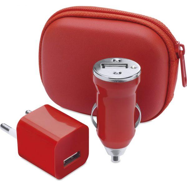 Set Cargadores USB Canox Makito - Rojo