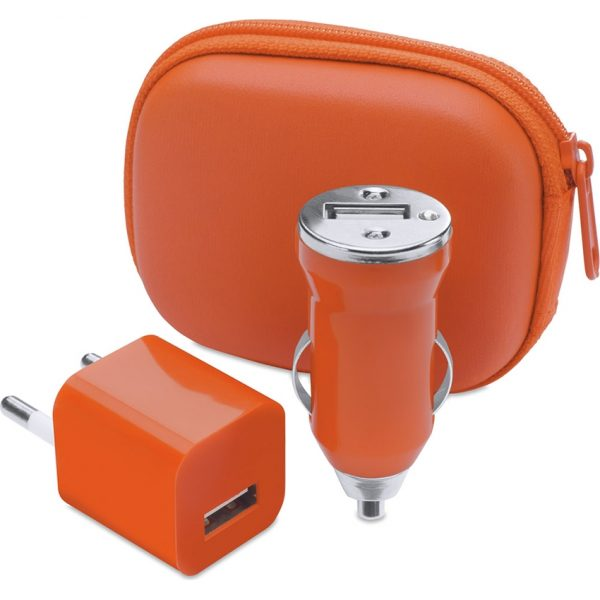 Set Cargadores USB Canox Makito - Naranja