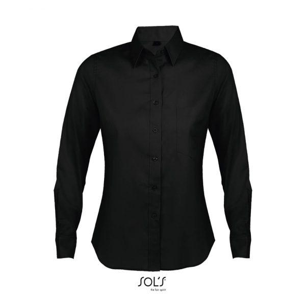 Camisa Manga Larga Business Women Mujer Sols - Negro