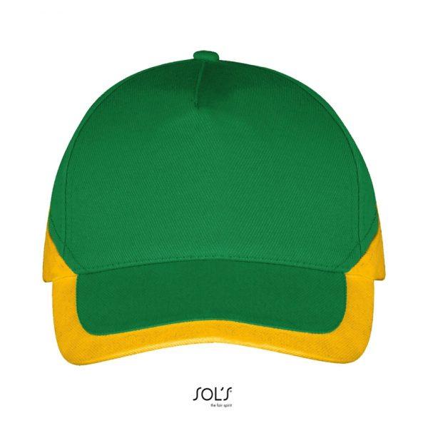 Gorra Booster Unisex Sols - Verde Pradera / Amarillo