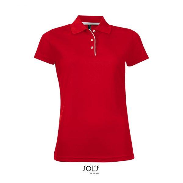 Polo Performer Women Mujer Sols - Rojo