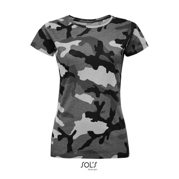 Camiseta Camo Women Mujer Sols - Camuflaje Gris