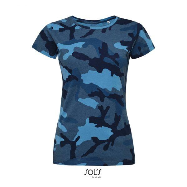 Camiseta Camo Women Mujer Sols - Camuflaje Azul