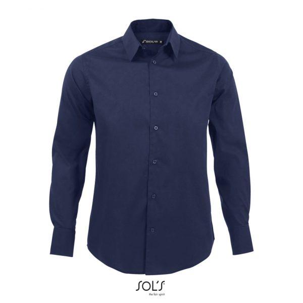 Camisa Manga Larga Brighton Hombre Sols - Azul Oscuro