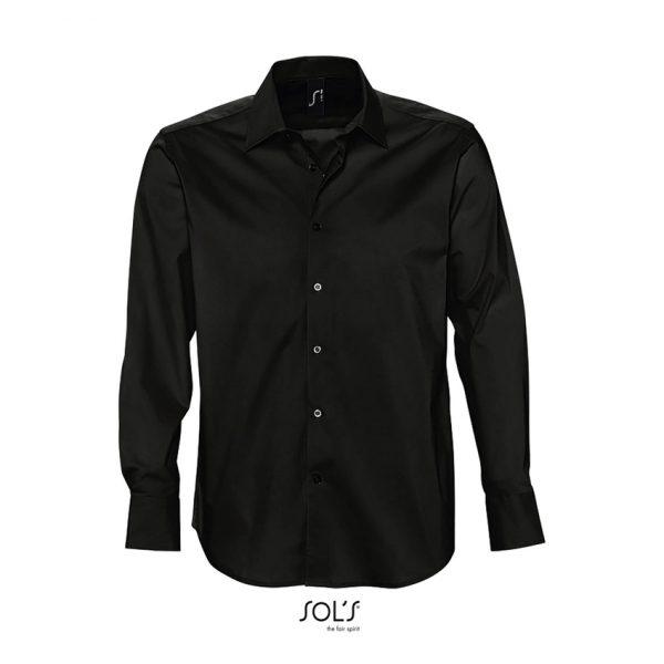 Camisa Manga Larga Brighton Hombre Sols - Negro